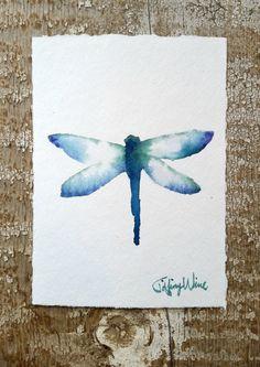 Blue and Turquiose Watercolor Dragonfly por TiffinysArtShop en Etsy