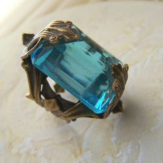Aquamarine Deco Cocktail Ring by 1ofmykind, via Flickr