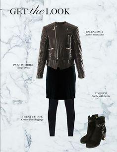 Look o the day #balenciaga biker jacket, #the23shop talego dress #the23shop cotton leggings #topshop boots.
