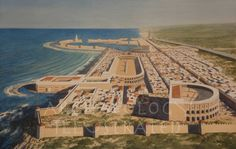 A New Reconstruction of Caeasarea, Israel, century AD @ Bible Illustrations, Biblical Sermon Illustrations, Christian Pictures Byzantine Architecture, Roman Architecture, Historical Architecture, Ancient Architecture, Beautiful Architecture, Ancient Rome, Ancient History, Pontius Pilatus, Sermon Illustrations