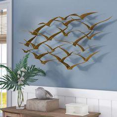 737578e4f90f Beachcrest Home Beautiful Patterned Metal Flocking Birds Wall Decor