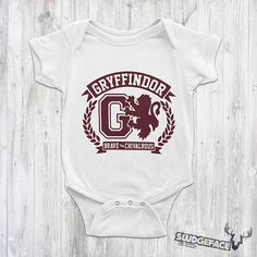 Harry Potter Inspired Gryffindor Baby Bodysuit / Cute Harry Cute Harry Potter, Baby Suit, Baby Bodysuit, Suits, Inspired, Trending Outfits, Inspiration, Clothes, Fashion