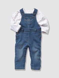 #Conjunto 2 prendas con #camiseta #blanca y #peto #vaquero #tejano #denim #bebé #niña