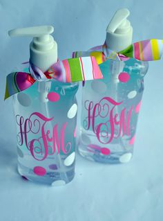 Personalized Hand Sanitizer Pump. could totally diy.