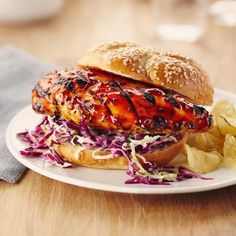 A summer classic! This BBQ chicken sandwich gets its kick from the hickory BBQ sauce and is topped with a creamy, crunchy coleslaw.