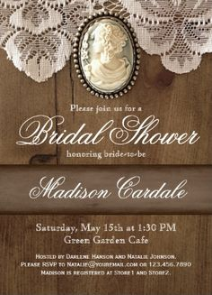 Vintage Cameo Brooch Lace Bridal Shower Invitations.  These rustic bridal shower invites have an elegant flair.  Two Sided.  Your choice of paper.  Discount Sale Prices based on the number of invites you order.  #bridalshower
