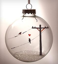 Glass Birds In Love Holiday Ornament.