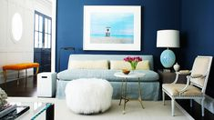 9 of the Most Beautiful Blue Rooms We've Ever Seen via @MyDomaine.  A Long Island living room designed by Christopher Burns.