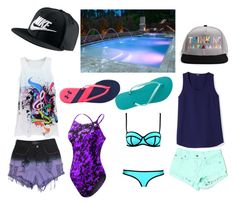 """""""Spring Break!"""" by shaina-wolf ❤ liked on Polyvore featuring Evil Twin, Carmar, TYR, Havaianas, Under Armour, NIKE and fun"""