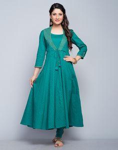 Cotton Cutwork Zari Embroidery Kalidar Long Kurta-Turquoise: Buy Fabindia Cotton Cutwork Zari Embroidery Kalidar Long Kurta-Turquoise Online in India. – Fabindia.com