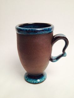 Stoneware Irish Coffee mug with bright teal glaze