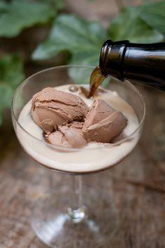 The Beer Float  =  dark beer + chocolate ice cream  + raspberries