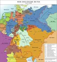 Map of The German Confederation (Deutscher Bund) / vgsgs European History, World History, Family History, German Confederation, History Of Germany, Historia Universal, Holy Roman Empire, Genealogy Research, Historical Maps