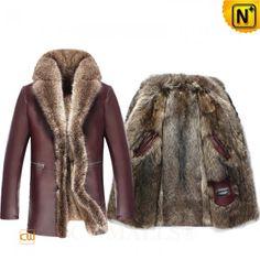 Fur Lined Leather Coat CW836022 www.cwmalls.com