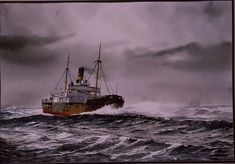 """""""TRAMP FREIGHTER AT SEA"""" - Watercolor, in Tramp Freighter Paintings"""