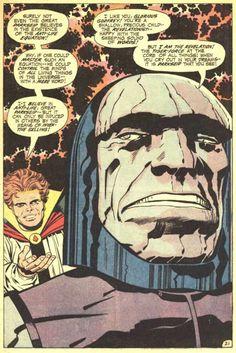 Darkseid by Jack Kirby, face based on Jack Palance. Glorious Godfrey by Jack Kirby, face based on Billy Graham Comic Book Artists, Comic Artist, Comic Books Art, Superman, Batman, Jack Kirby Art, Fourth World, New Gods, Comic Panels