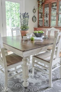 Antique dining table and chairs updated with chalk paint.