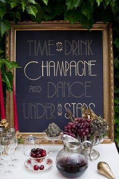 "Custom signs like this, ""Time to drink champagne and dance under the stars"" piece adds a whimsical element to your wedding day. #art #quotes #wedding"