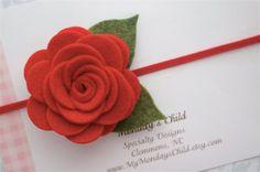 Felt Flower Headband in Red Rose  Felt Baby by MyMondaysChild