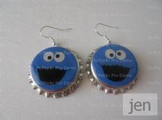 Cookie Monster earrings - Aretes Monstruo come galletas