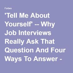 tell me about yourself interview answer