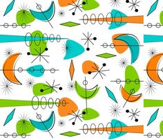 Mid-Century Boomerangs III fabric by egnatz on Spoonflower - custom fabric Mid Century Modern Colors, Mid Century Modern Fabric, Mid Century Art, Mid Century Decor, Mid Century Modern Design, Retro Fabric, Vintage Fabrics, Modern Color Schemes, Modern Patterns