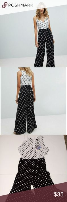 5cb91dda9386 Misguided Mixed Strap Polka Dot Jumpsuit 10 Contrast polka dot print Spot  on V-neck Wide legs Zip-back fastening Regular cut Fits you just right New  with ...