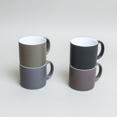 Serax International Jansen And Co My Mugs Grey Set Of 4: The signature collection from Amsterdam-based design company Jansen + Co, My Mugs are simple, classic shapes in contemporary blocked colours with a matte finish, and in a gorgeous range of different shades. Shown here is the grey collection, new for 2017. Sold as a set of four, these come beautifully gift boxed.