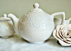 Cream white lace teapot by Dprintsclayful on Etsy