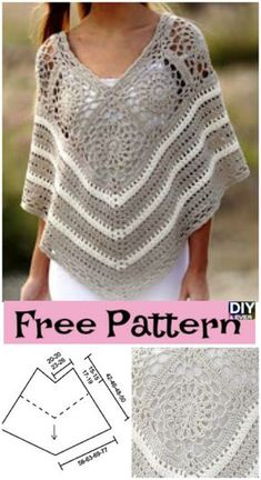 Discover thousands of images about Pretty Crochet Poncho – Free Pattern Crochet Poncho Patterns, Knitted Poncho, Crochet Scarves, Crochet Shawl, Crochet Clothes, Crochet Stitches, Crochet Ripple, Mode Crochet, Crochet Diy