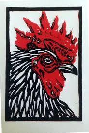 Image result for rooster linocut