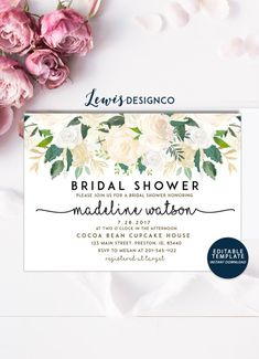 Bridal Shower Invitation Watercolor Floral Wedding Card