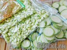 Кабачки для замораживания готовы. Все пакеты с кабачками поместить в морозилку и заморозить. Использовать по необходимости.