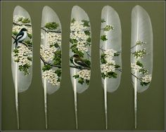 Feather painting by Julie Thompson cool-clever-creative Feather Painting, Feather Art, Feather Jewelry, Tole Painting, Artist Painting, Julie Thompson, Beautiful Swan, Beautiful Birds, Beautiful Things
