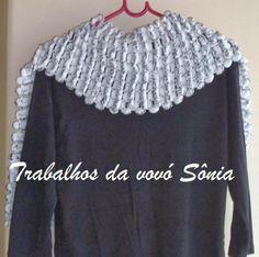 Trabalhos da vovó Sônia: Cachecol Pompons branco e preto - tricô