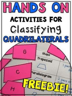 This freebie includes eight printable cut-outs of quadrilaterals and two graphic organizers to build conceptual understanding for your students. Check out my other hands-on activities for classifying triangles:Hands-On Activities for Classifying Triangles Maths Guidés, Math 5, Guided Math, Math Teacher, Math Classroom, Fun Math, Math Writing, Classroom Resources, Learning Resources