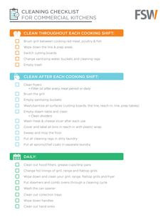 Monthly Cleaning Checklist for Commercial Kitchens | Designing ...