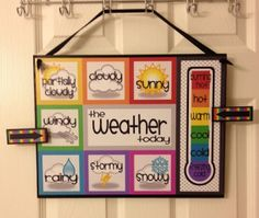 """Great visual for monitoring weather patterns. You could designate a student to be the class """"meteorologist"""" for classroom jobs. You could also keep a bar graph of the weather to teach data keeping/ interpreting."""