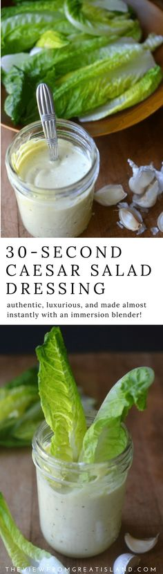 30 Second Caesar Salad Dressing--- this creamy, rich salad dressing comes together almost instantly using your immersion blender...it's a real game changer! #diycaesardressing #caesardressing #caesarsalad #saladdressingrecipe #salad #condiments #dressing #authenticcaesardressing #30seconddressing #30secondcaesardressing #cesardressing