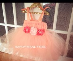 "The ""Lilly"" dress-Coral peach tutu dress with handmade peonies in blush and coral featuring crystal fancy beads -Up to 5T  on Etsy, $80.00"