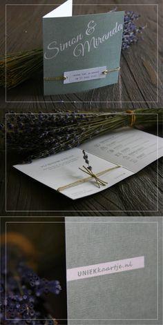 Bruiloft   Trouwkaart   romantisch   landelijk en natuurlijk   vintage touch   oud groen   karakter door bijzondere papier met linnen textuur   touw   lavendel   doodle   icoontjes    vanaf € 1,95 per stuk   kies zelf de achtergrondkleur en / of het lettertype, zonder extra kosten   Studio Altena