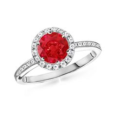 Round Ruby and Diamond Border Ring #Angara