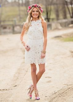 de7542ee1b47 Obviously Insane Floral Lace Tank Open Back Dress White CLEARANCE White  Tank Dress