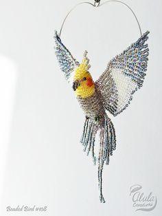 Cockatiel Suncatcher, Window Decor, Beaded Bird Ornament, Bird Necklace, Bird Lover Gift, Bird Figurine, 3D Beaded Bird, Car Charm / BB #108