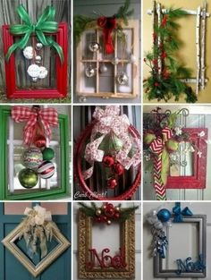 Best 12 146 diy holiday projects using dollar store ornaments – page 31 > Homemytri. Picture Frame Wreath, Christmas Picture Frames, Picture Frame Crafts, Old Picture Frames, Christmas Pictures, Noel Christmas, Simple Christmas, Christmas Projects, Holiday Crafts