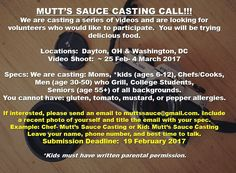WE'RE SHOOTING A VIDEO- we need you to try Mutt's Sauce. Who knows you may become famous! Email muttssauce@gmail.com #ohio #ohiostate #wrightstateuniversity #wsu #dmv #dmvnetwork #instafamous #foodie #castingcall #dayton #bbq #spicy We Need You, State University, Knowing You, Ohio, Spicy, Bbq, It Cast, Yummy Food, Videos