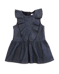 Sleeveless Ruffle-Trim Fit-and-Flare Chambray Dress, Blue, Size 12M-3 by Chloe at Neiman Marcus.