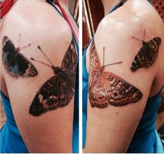 Realistic butterfly tattoos on both arms.  These are my personal tattoos.