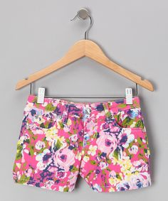 Look at this Pink Floral Shorts - Girls on #zulily today!