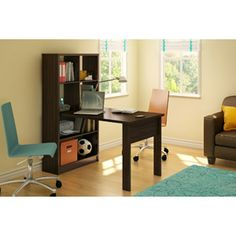 South Shore Desk and Bookcase Unit Combo Mocha, Desk with Bookcase Hutch, Desk with Bookshelves, Home Office Desk Cubby Storage, Table Storage, Storage Spaces, Storage Compartments, Storage Room, Desktop Bookshelf, Bookcase Desk, Bookshelves, Student Bedroom
